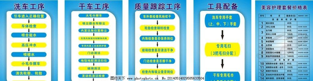 汽车美容中心 制度牌 青色 流程图 管理制度 职责 广告设计 矢量 cdr