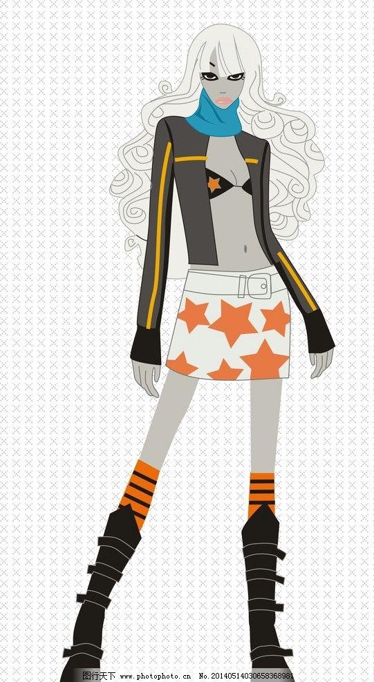 时尚潮人服饰 服装 矢量图 效果图 设计图