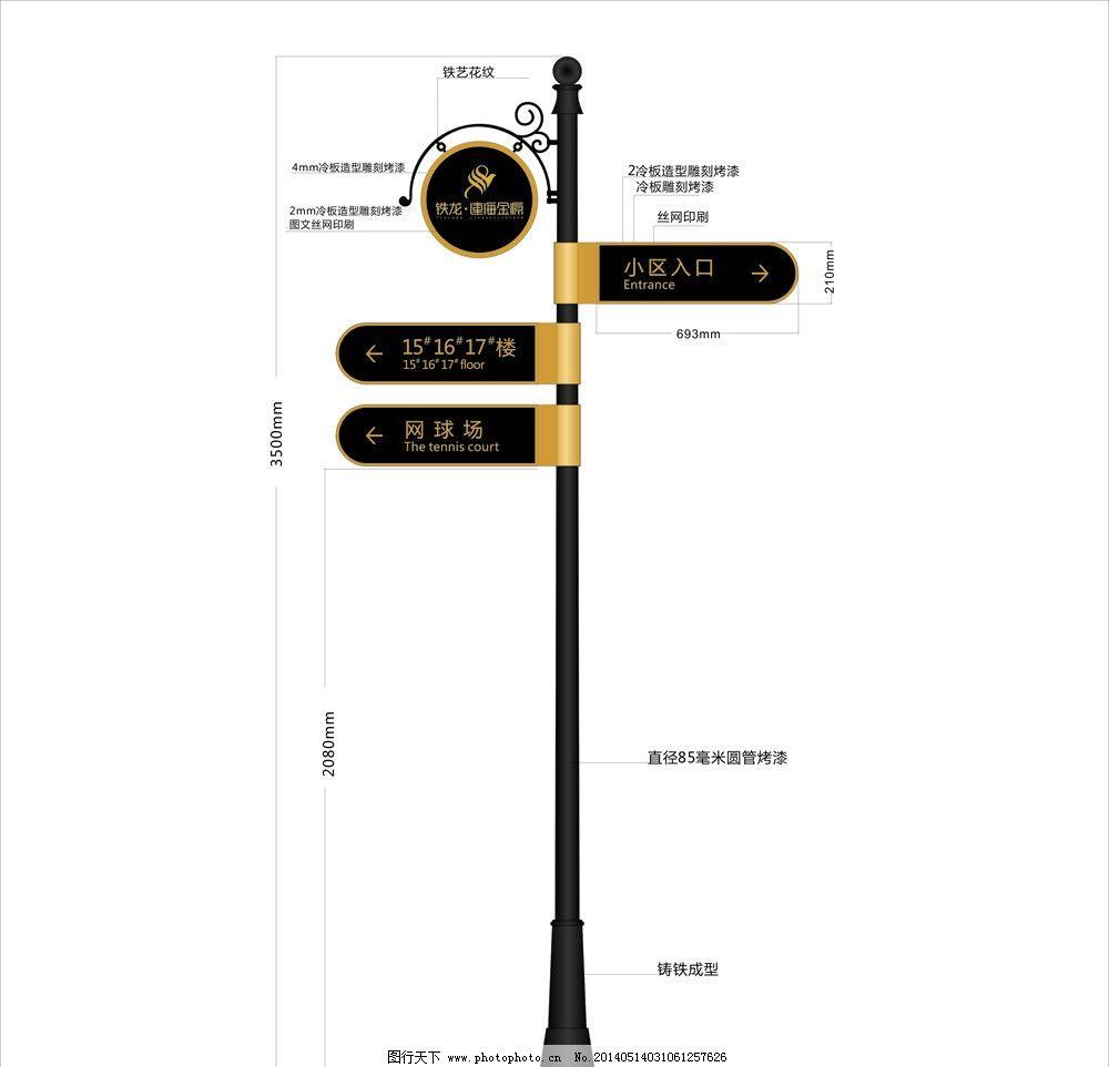 分区指示牌 指示牌 导视 路标 立牌 铁艺 指引牌 简欧 导视牌 标杆