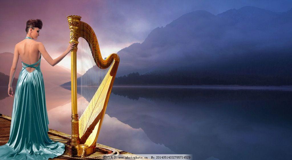 古琴美女 美女 古琴 风景 古典美女 高贵美女 人物 psd分层素材 源