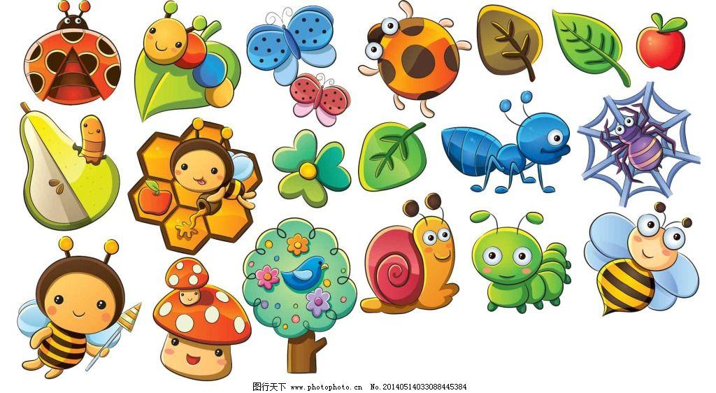 卡通动物免费下载 蜜蜂 蜗牛 蜘蛛 蜜蜂 蜘蛛 蜗牛 psd源文件 其他psd