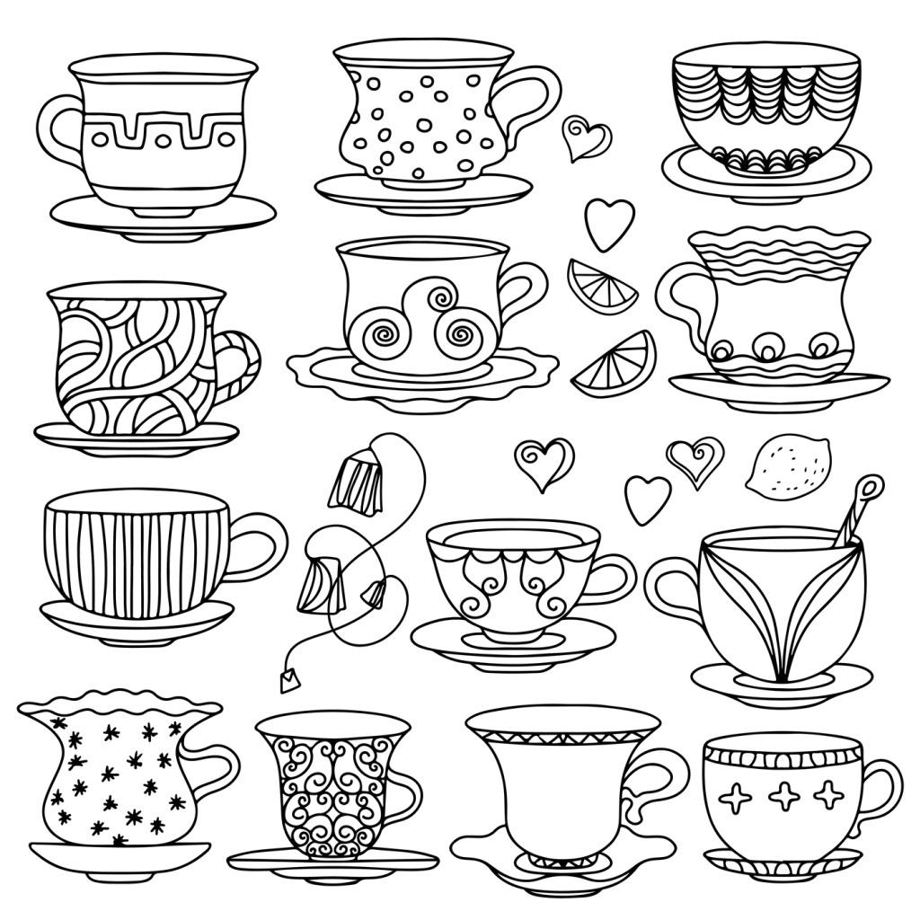 杯子 茶杯 咖啡杯 手绘 素描 素描 手绘 杯子 咖啡杯 茶杯 矢量图