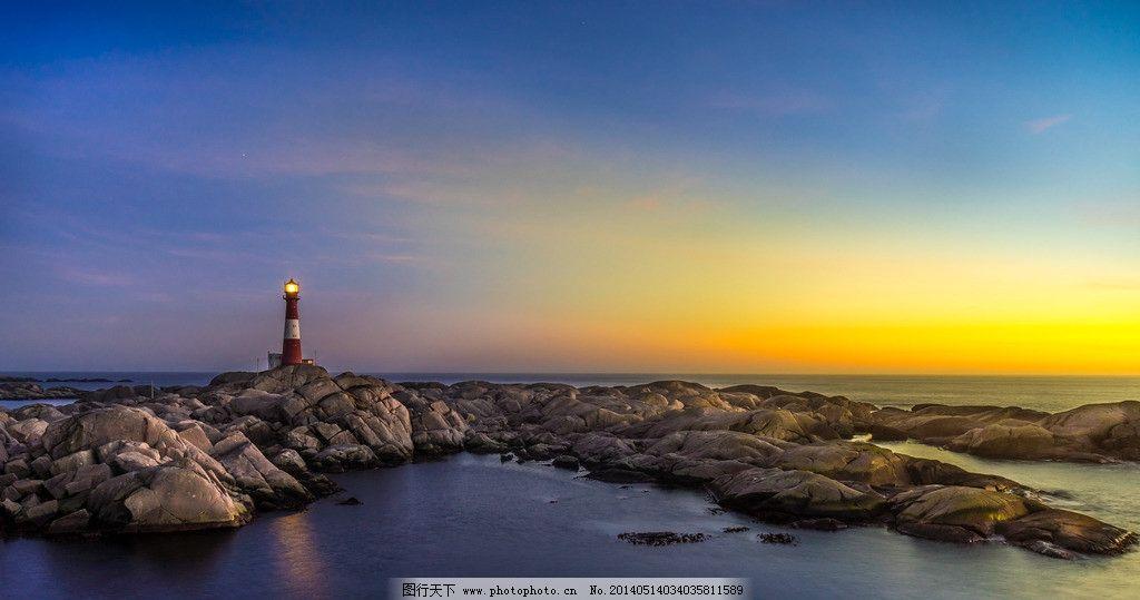 唯美海边灯塔图片
