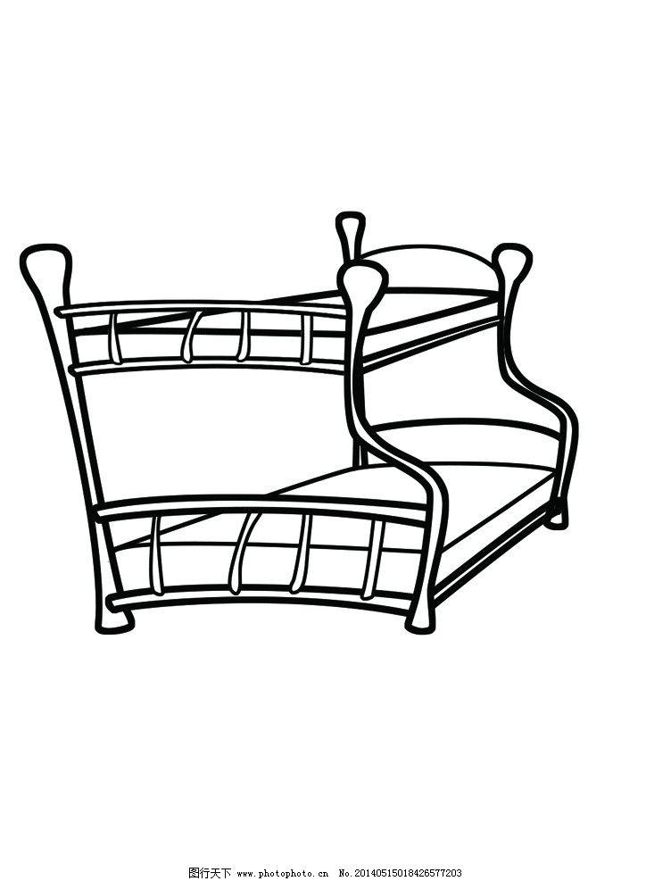 子母床 简笔画床 上下床 可爱床 黑白床 风景漫画 动漫动画 设计 300