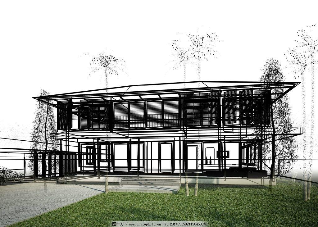 手绘建筑效果图 建筑效果图 手绘建筑 素描 3d建筑 建模 透视图 模型