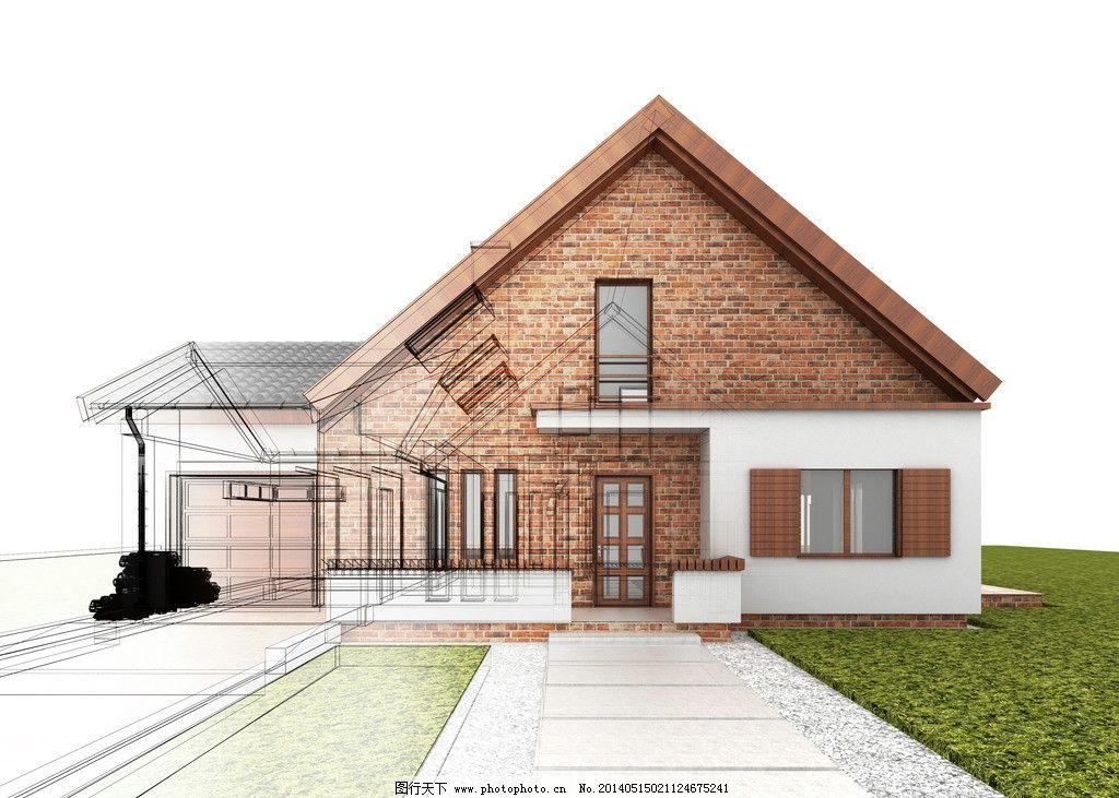 别墅 手绘建筑 欧洲建筑 素描 3d建筑 建筑效果图 建模 透视图 模型