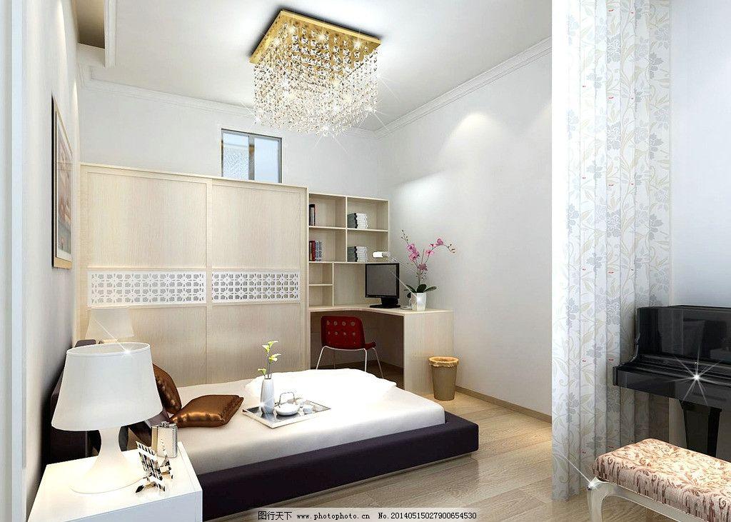 卧室效果图 家装 钢琴 衣柜 电脑桌 现代风格 简约风格 室内设计 环境