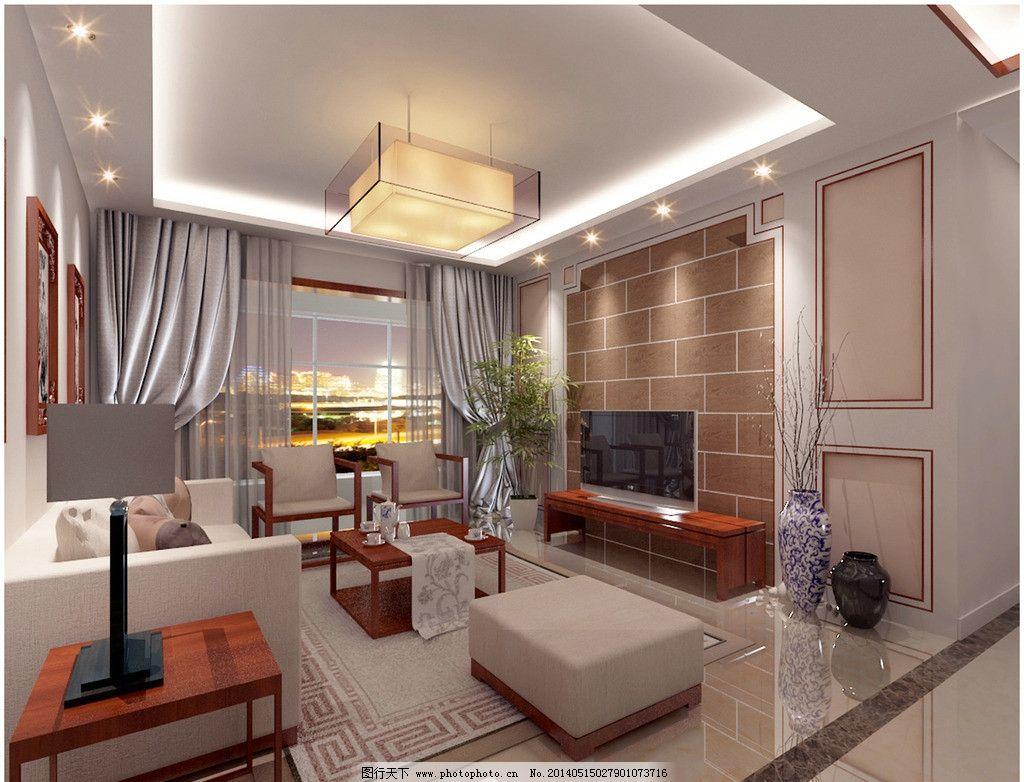 新中式客厅效果图 新中式             个性 3d 室内设计 环境设计 设