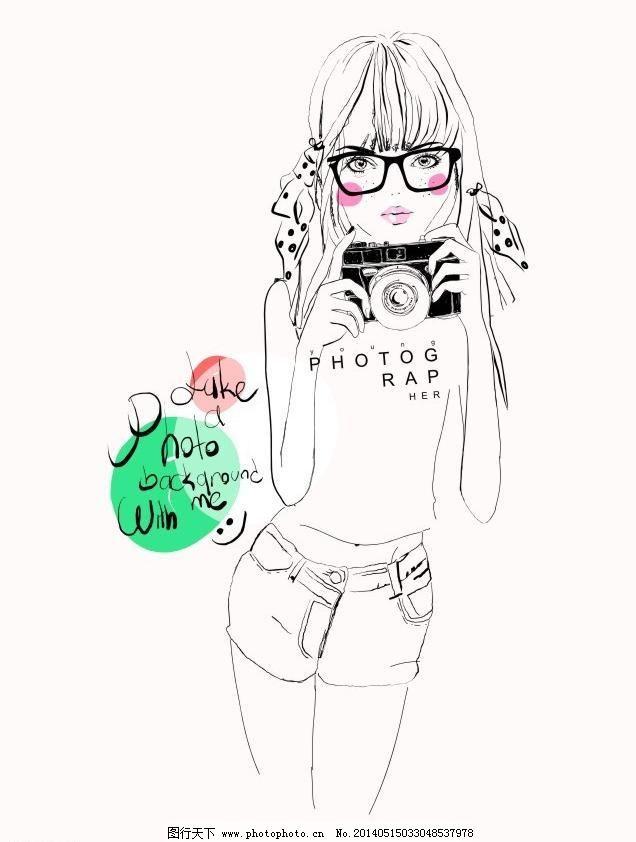 插画 抽象 创意t恤 创意图案 动漫 服装设计 个性 素描写意黑白美女