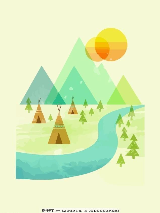 森林和山 插画 抽象 创意图案 动漫 服装设计 个性 森林和山矢量素材
