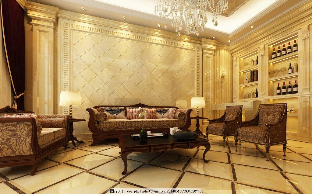 新中式别墅客厅地板别墅客厅装修地板图片3