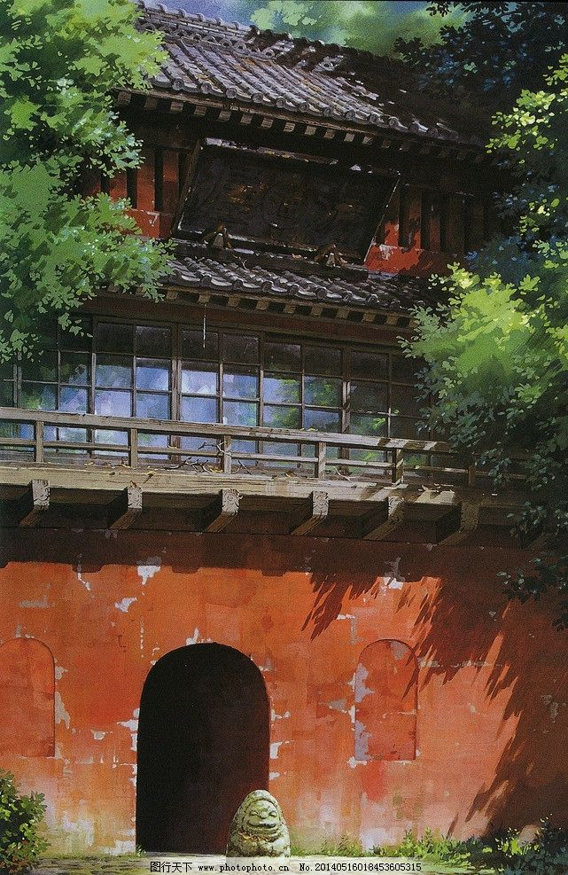 千与千寻场景 千与千寻 场景设计 手绘动画 古建筑 城楼 城墙 宫崎骏