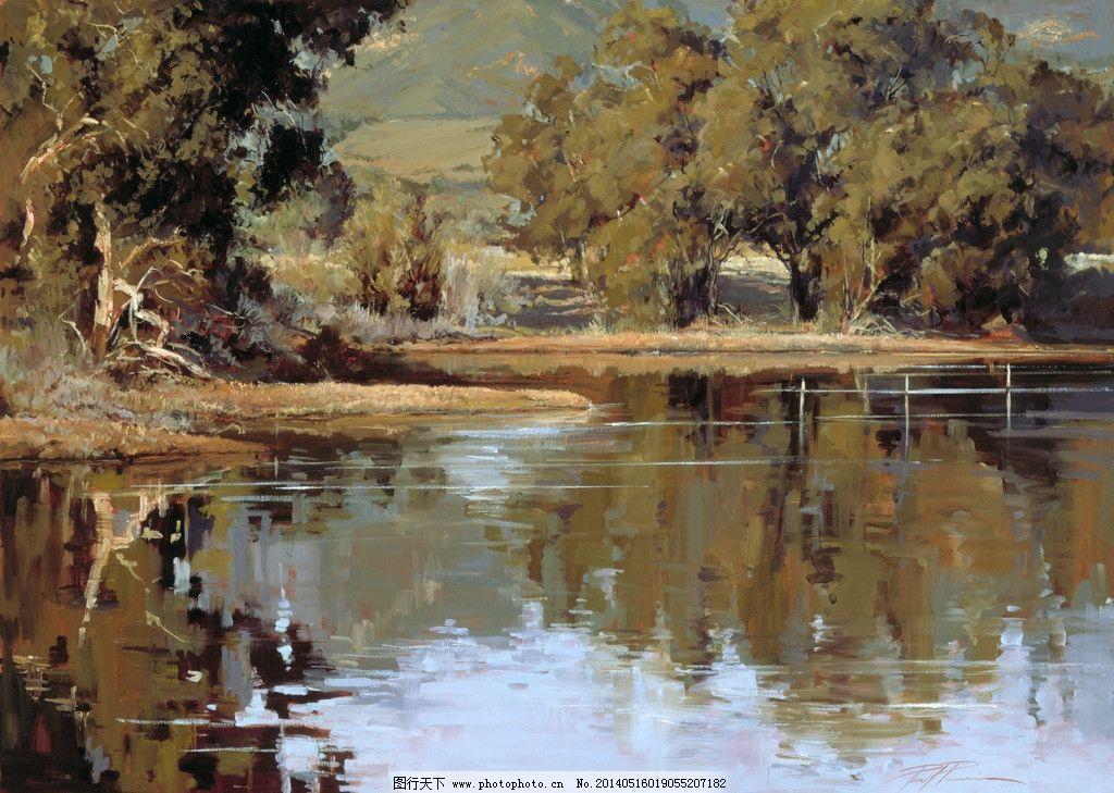 湖畔油画 风景油画 写生 外国油画 绘画 绘画书法 文化艺术