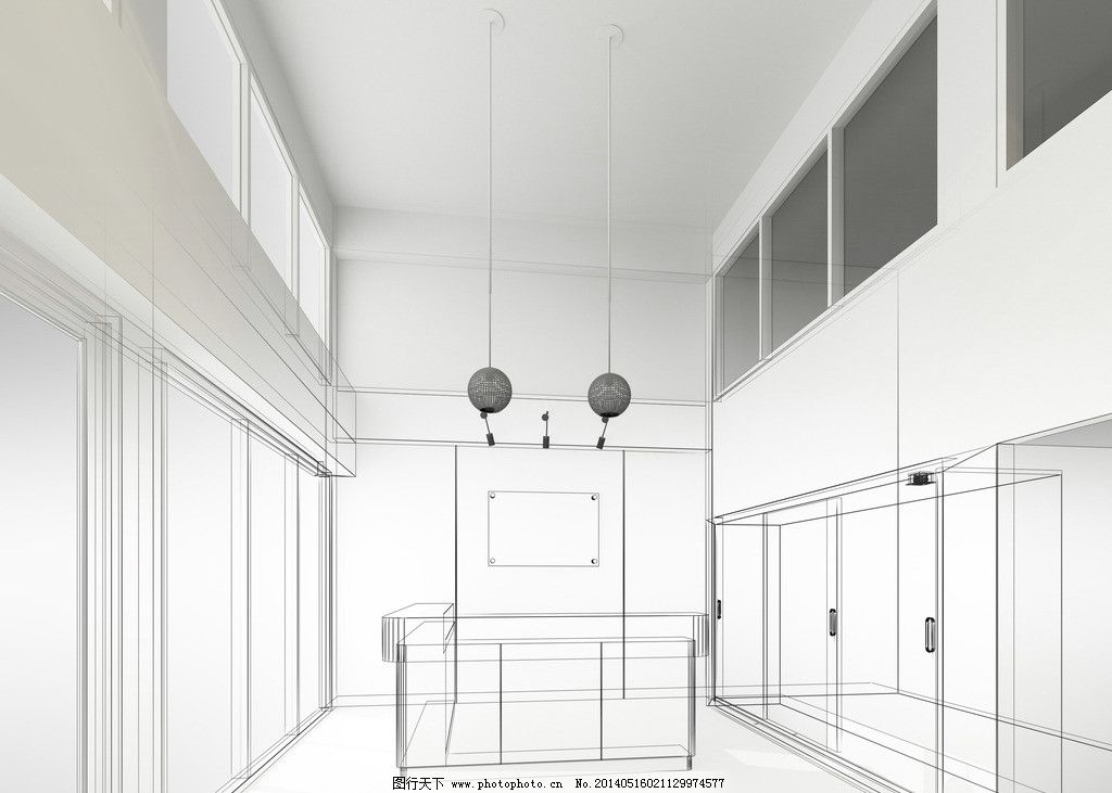 建筑效果图 手绘建筑 素描 3d建筑 建模 透视图 模型 线描 展厅 3d