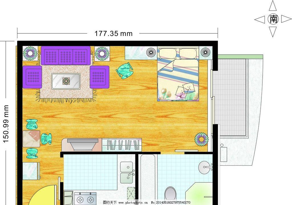 一居室 手绘室内平面设计 cdr室内平面设计 室内图形 矢量图家具 建筑