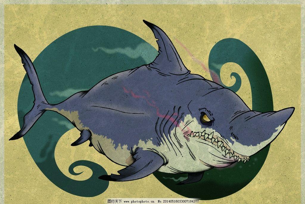鲨鱼 大白鲨 鱼 血腥 图腾 手绘 psd分层素材 源文件 300dpi psd