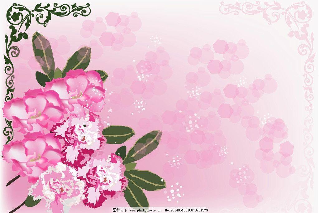 手绘花卉 花卉 卡通背景贺卡 康乃馨 母亲节 卡片 红花 花纹花卉 绿叶