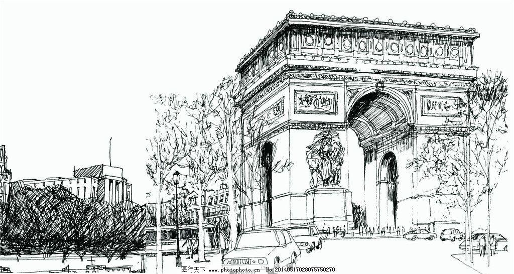 房子 城堡 线描 画 风景 传统建筑 建筑家居 矢量 cdr