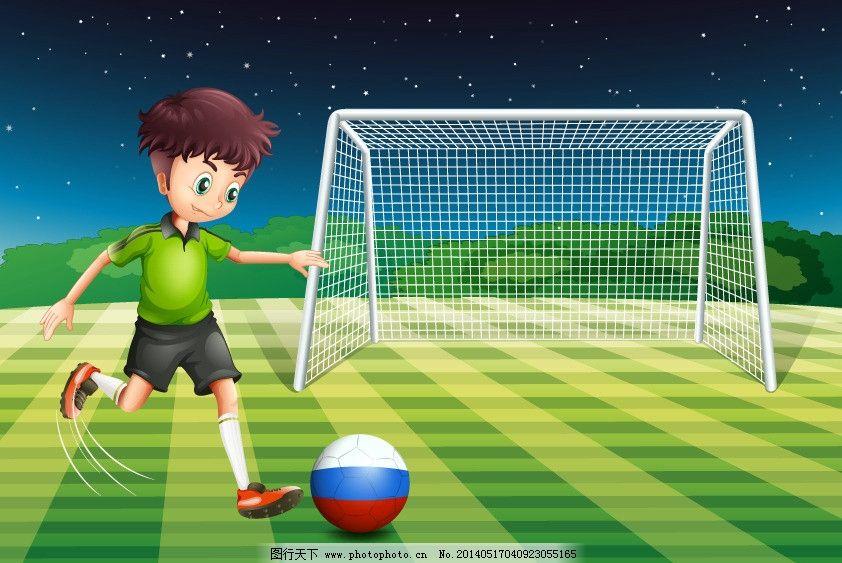 卡通足球运动员 踢足球 儿童 足球场 小男孩 学生 体育 世界杯