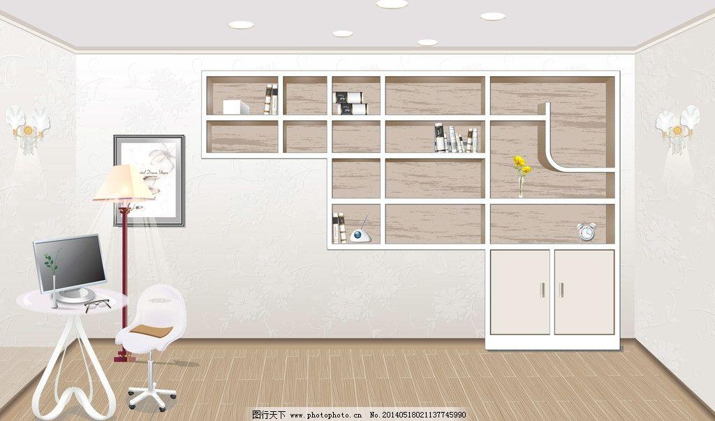 手绘书房 书柜 室内 书房