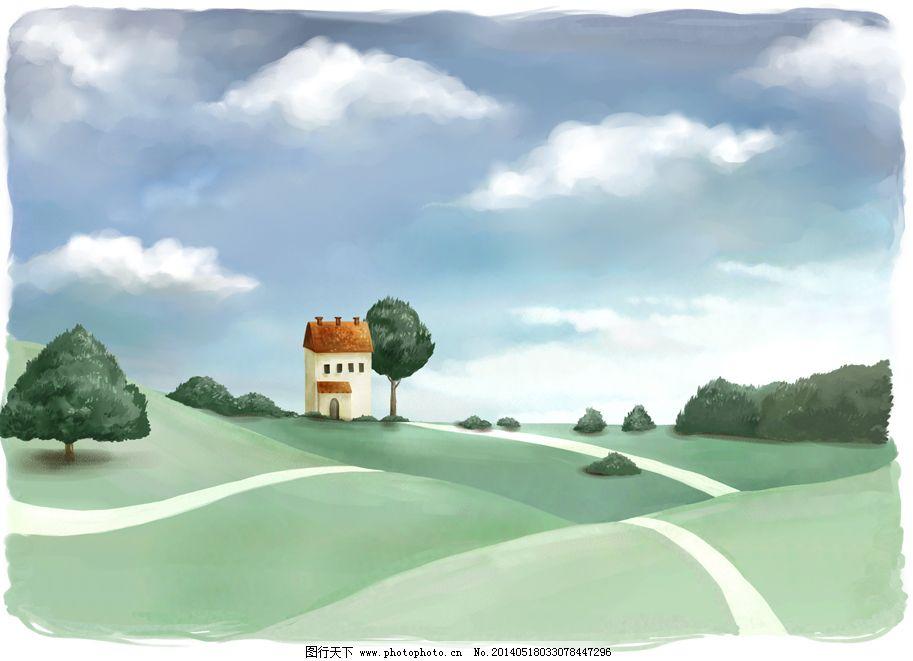 孤独的房子免费下载 大树 房子 孤独 手绘 田野 手绘 田野 孤独 房子