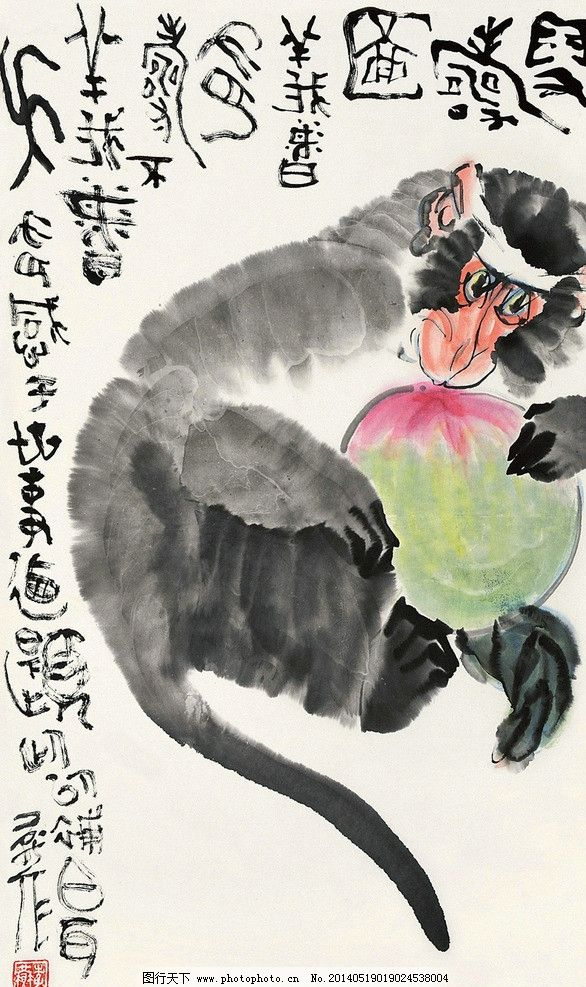 猴子 猴 申猴 猕猴 猴乐 小猴子 寿猴 猴戏 猴趣 桃子 寿桃 水墨画