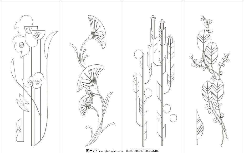 艺术玻璃 工艺玻璃 雕刻 刻绘 白描图 吊趟门 抽象 抽象图案 欧式花