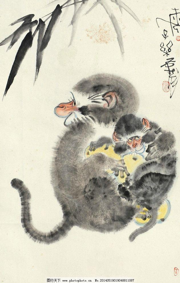 李燕 国画 猴子 猴 申猴 母子 母猴 小猴子 寿猴 寿桃 桃子 水墨画