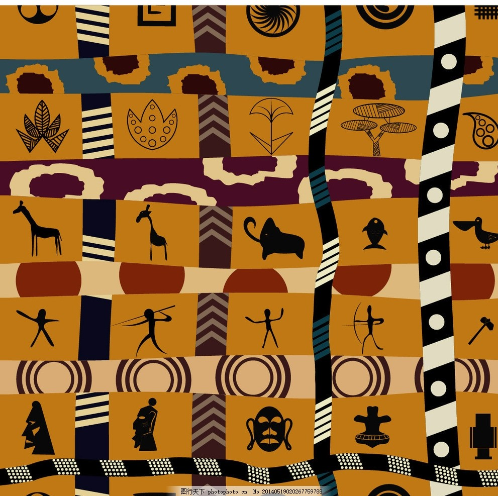 装饰图案 非洲图案 非洲元素 动物图案 布纹 图案 墙纸纹 印花 花布