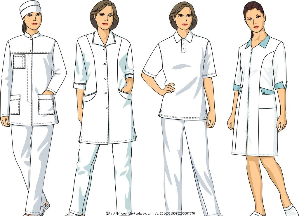 职业女性 制服 时尚美女 工作服 护士 工人 服装设计 女孩 女人 手绘