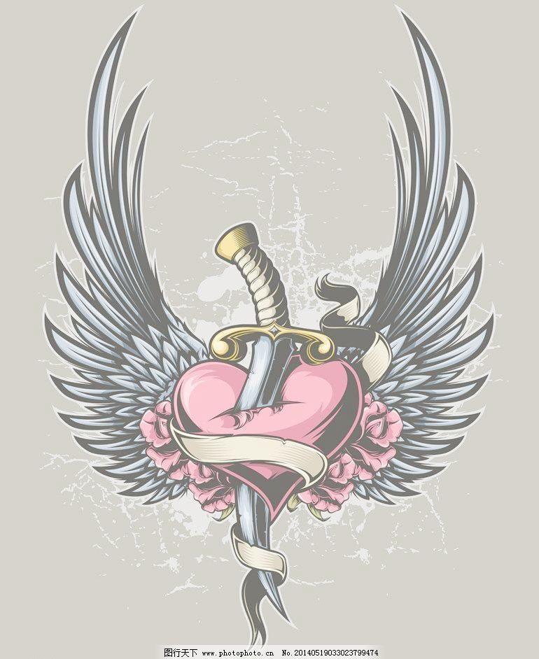 eps 爱情 爱心 翅膀 抽象设计 复古 红心 怀旧 节日素材 卡通背景
