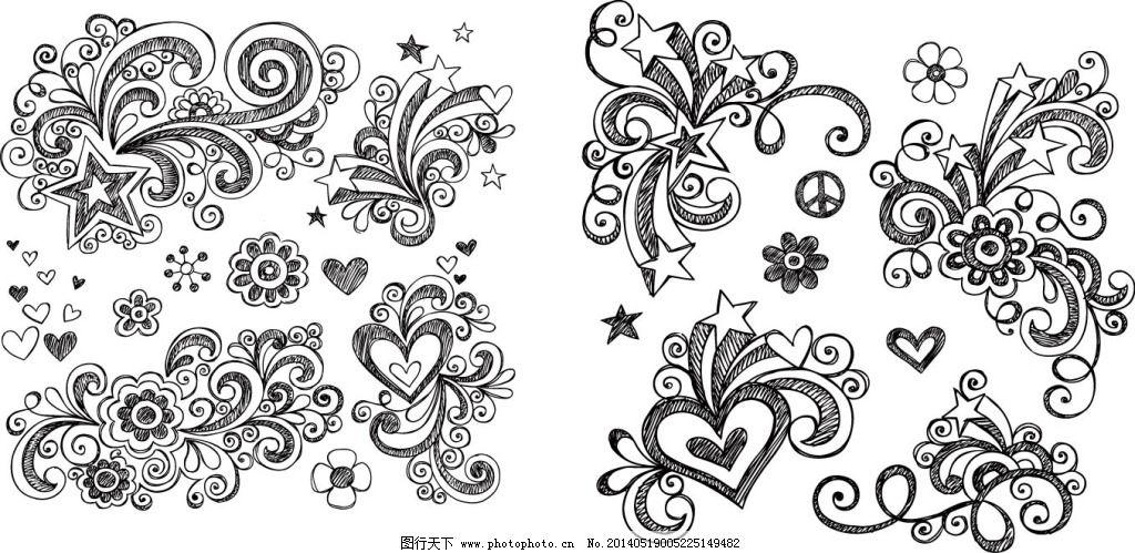 铅笔画底纹 铅笔画底纹免费下载 手绘 素描 矢量图 花纹花边