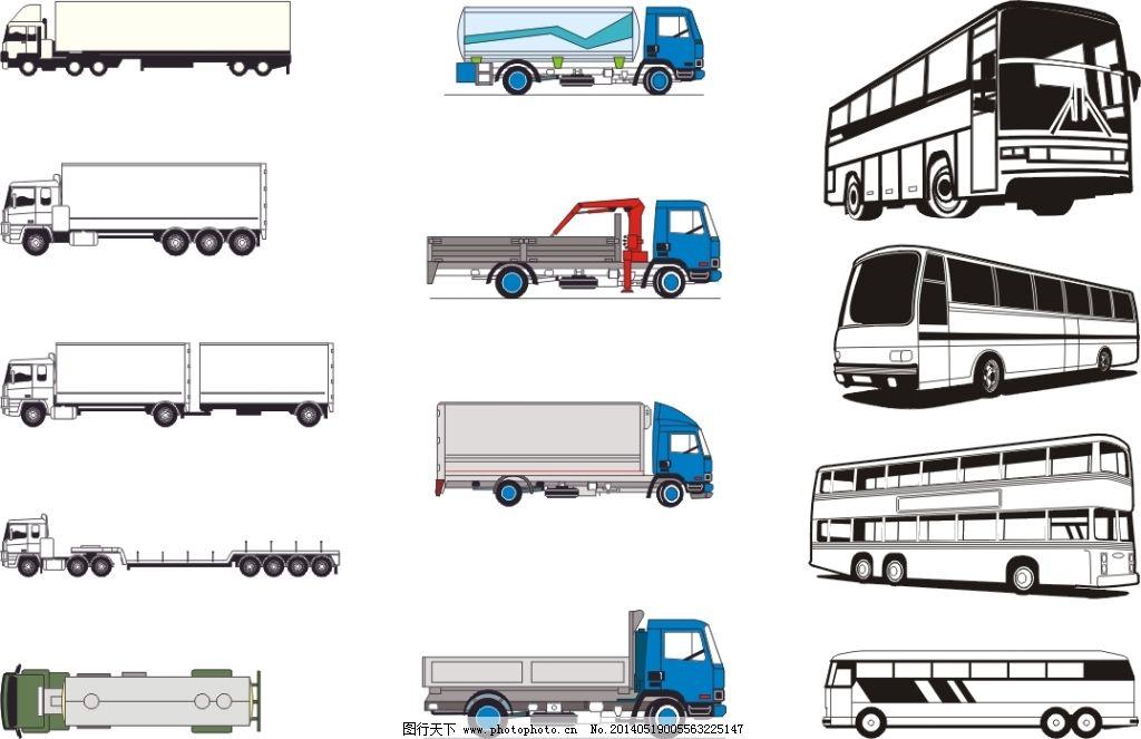 手绘汽车免费下载 矢量汽车 矢量汽车 半挂车 客车货车 矢量图 其他