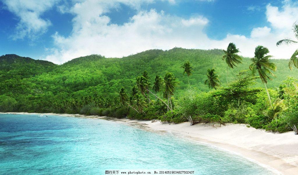 唯美海边 绿色清新 绿色植物 海边 大海 海水 蓝天 白云 天空 海边