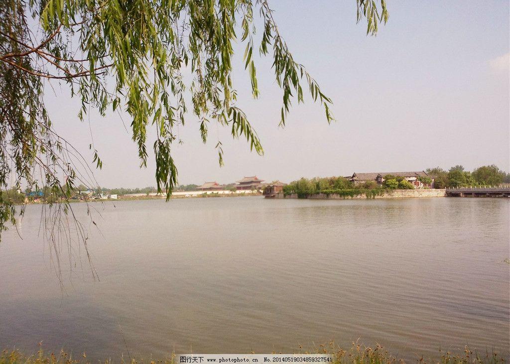南湖 商丘南湖 商丘古湖 湖水 垂柳 蓝天 天空 春天 春湖 自然风景