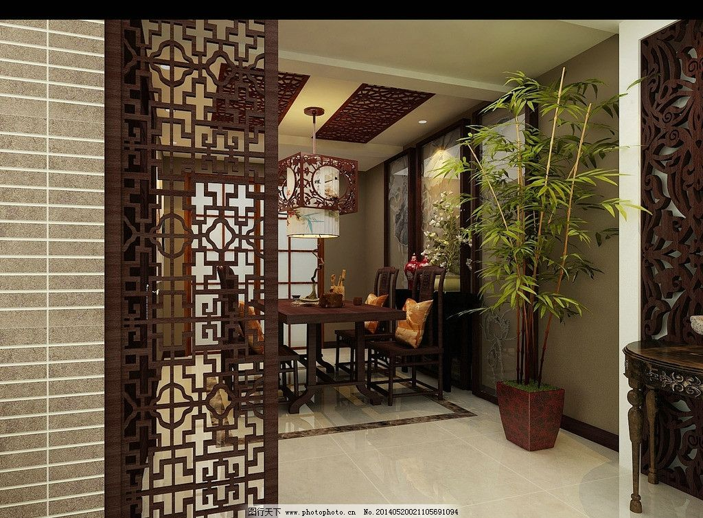 中式风格室内 时尚 中式 屏风 窗帘 美观 树木 3d作品 3d设计 设计 72