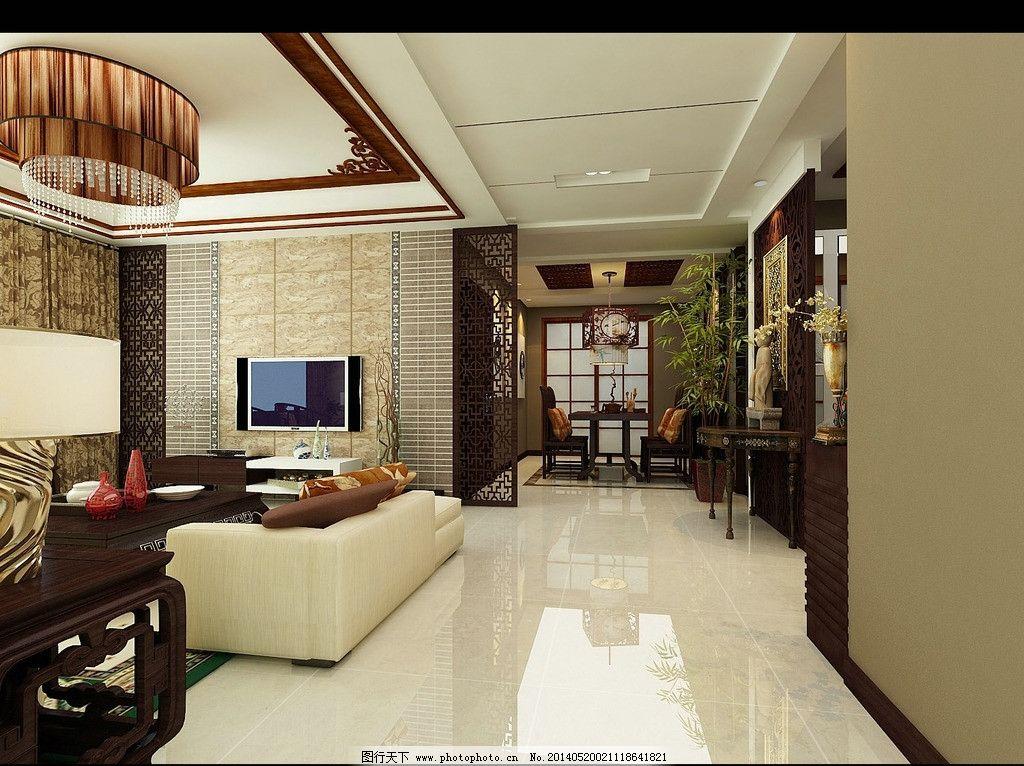 新中式客厅设计 时尚 中式 屏风 窗帘 美观 大气 3d唯美中式设计 3d图片