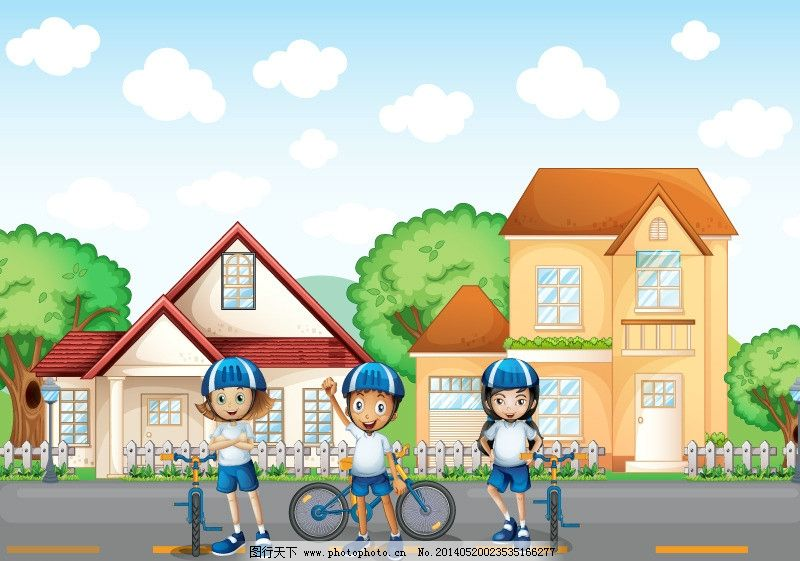 人物 卡通背景 骑自行车 儿童 小女孩 小男孩 时尚人物 卡通 手绘