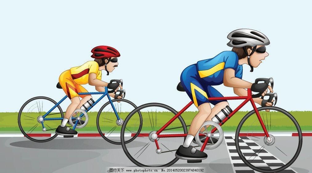 卡通人物 人物 卡通背景 骑自行车 赛车 时尚人物 卡通 手绘 矢量