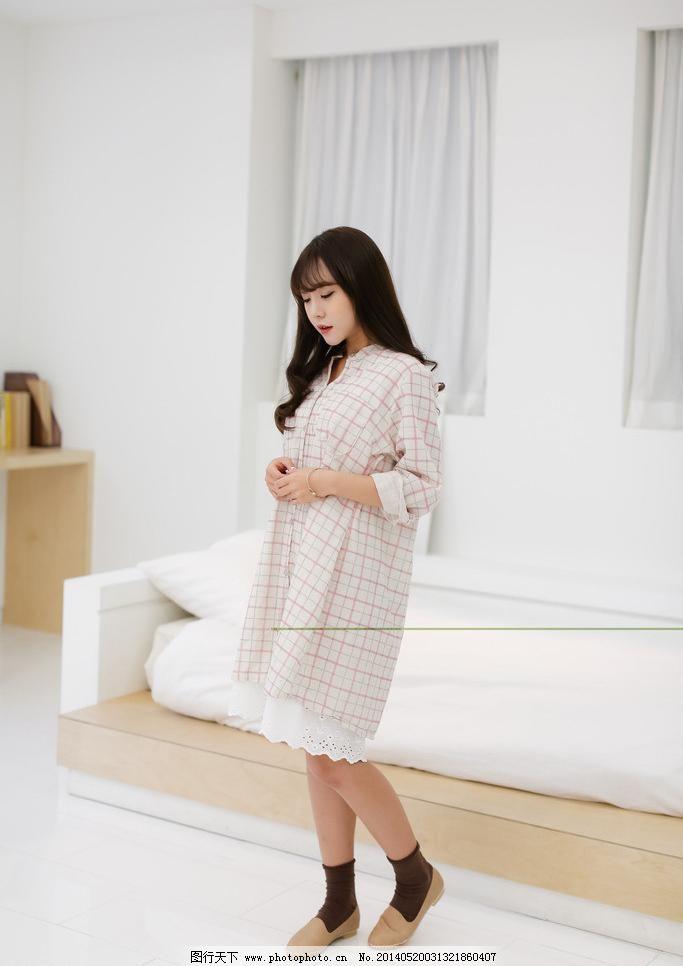 格子 韩版 简约 蕾丝 连衣裙 模特 清新 人物摄影 淘宝女模特图片素材