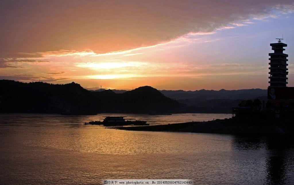 夕阳 灯塔 黄昏 长江 宜昌 三峡宜昌 宜昌景观摄影 建筑景观 自然景观