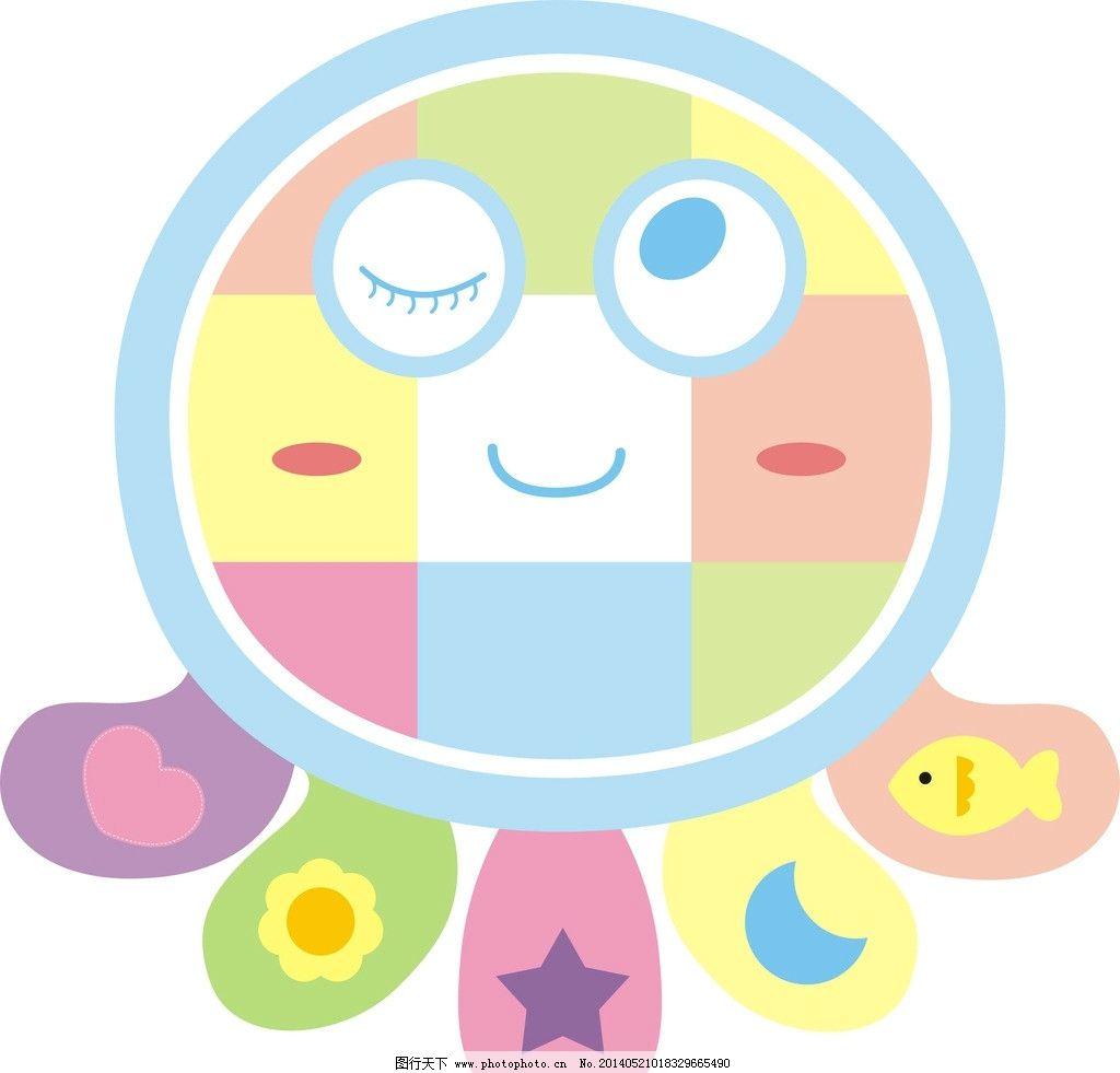 卡通章鱼 笑脸 卡通鱼 月亮 星星 花 桃心 婴儿爬行毯 卡通设计 广告