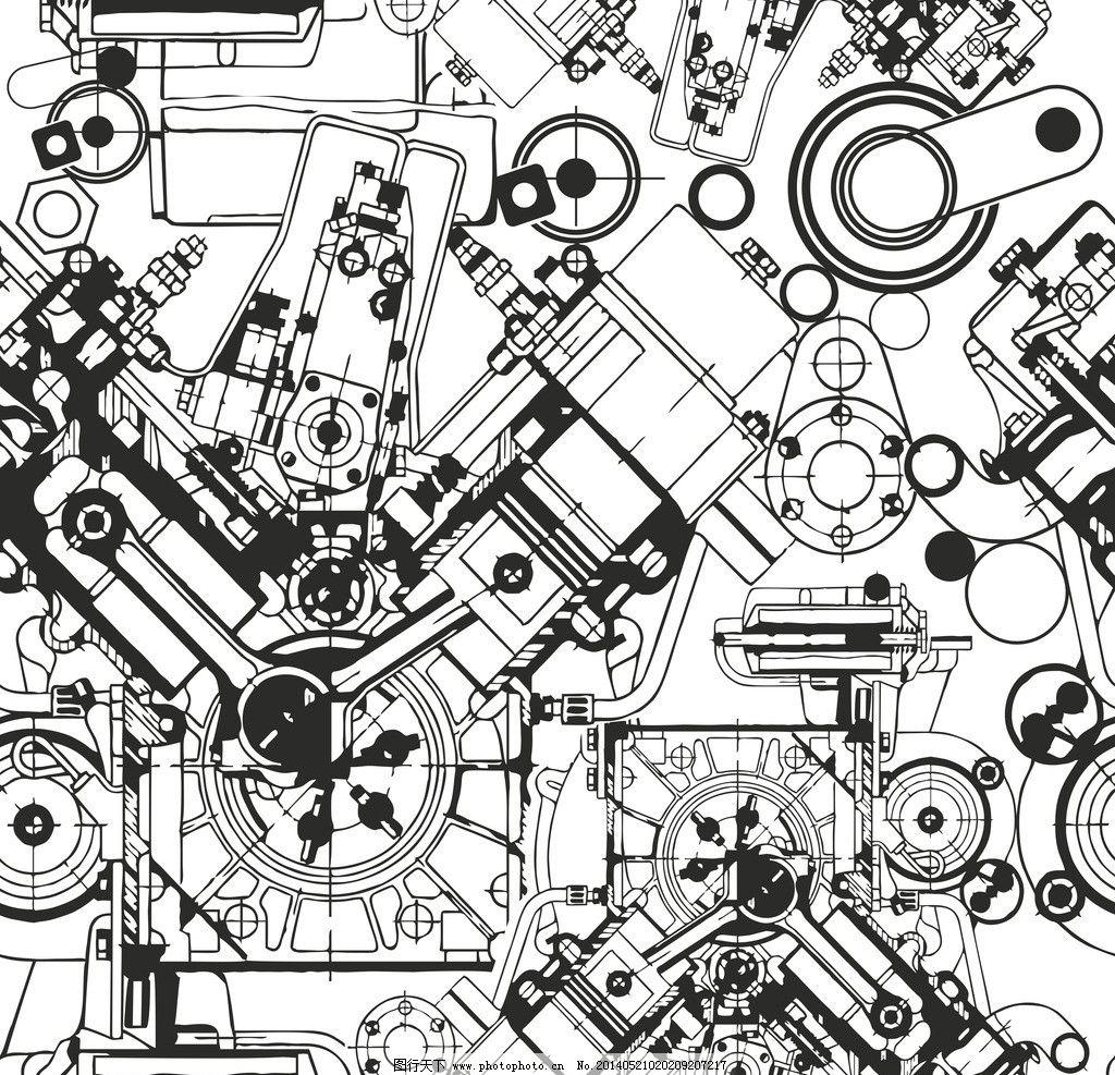 机械工程图矢量素材 机械 工程 模型 模具 手绘 线稿 三维 结构 建筑
