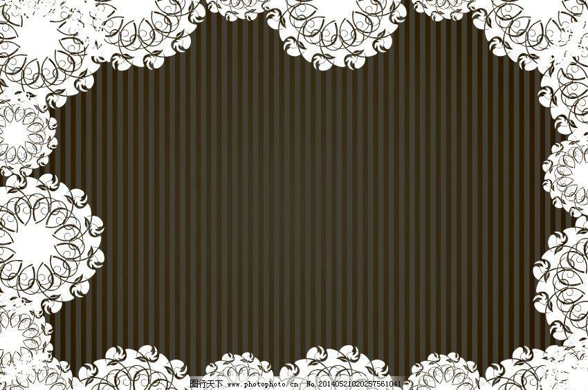 淡雅 黑色 白色花纹 褐色背景 线条 花藤 花枝 枝叶 欧式底纹 藤蔓图片