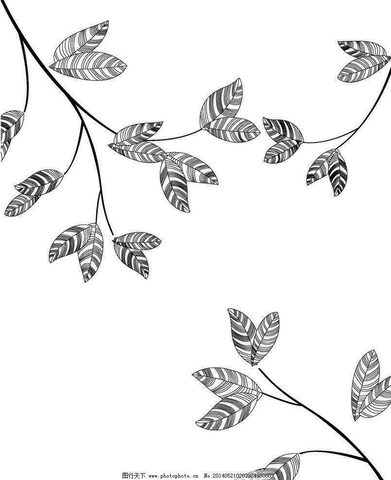 叶子 花纹 叶子花纹 角花 线条 手绘 手绘花纹 树枝 黑白 花纹花边