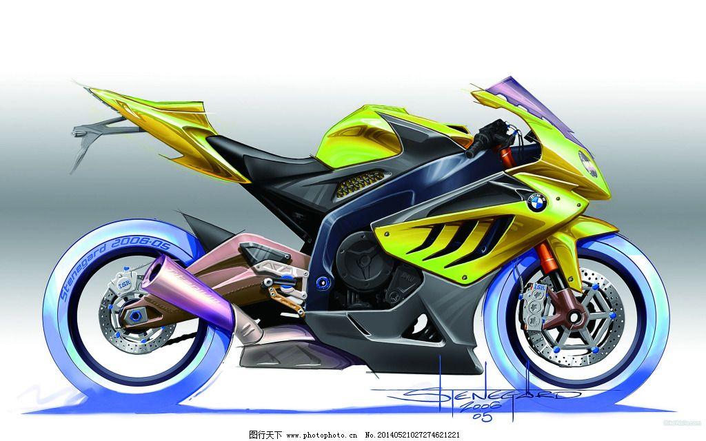 手绘摩托车