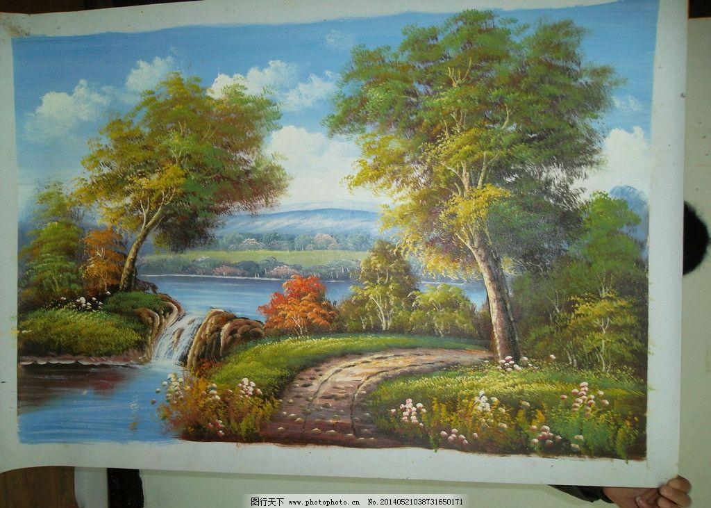 手绘油画 风景油画图片