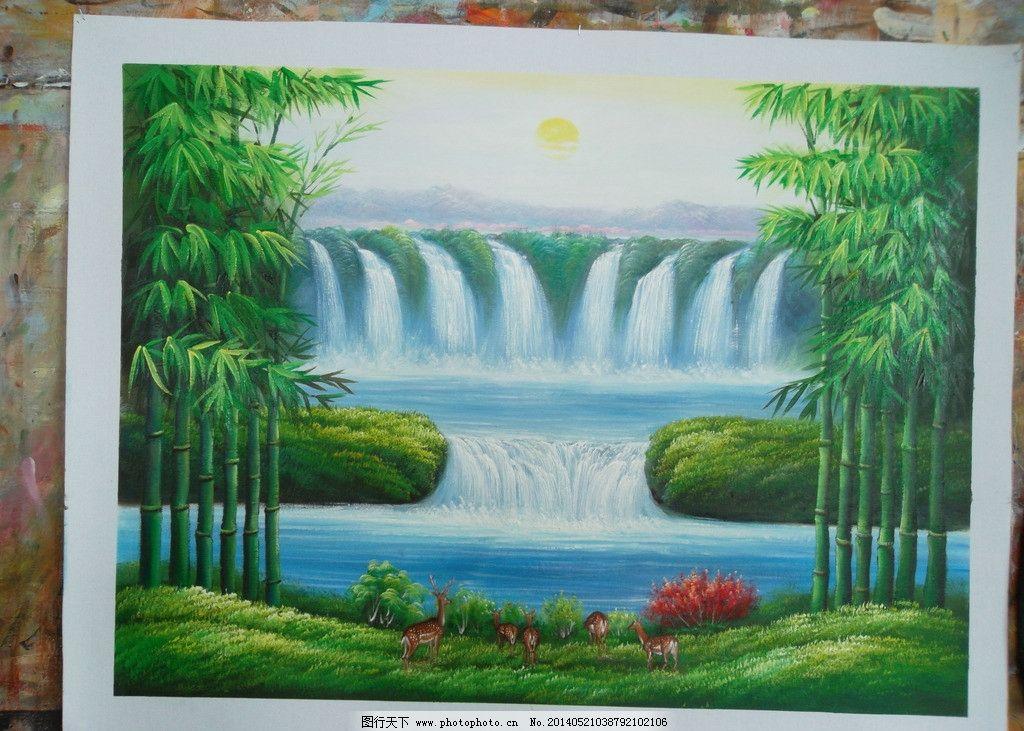 风景油画 富贵竹 小鹿风景油画 手绘油画 瀑布流水 办公室挂画 美术