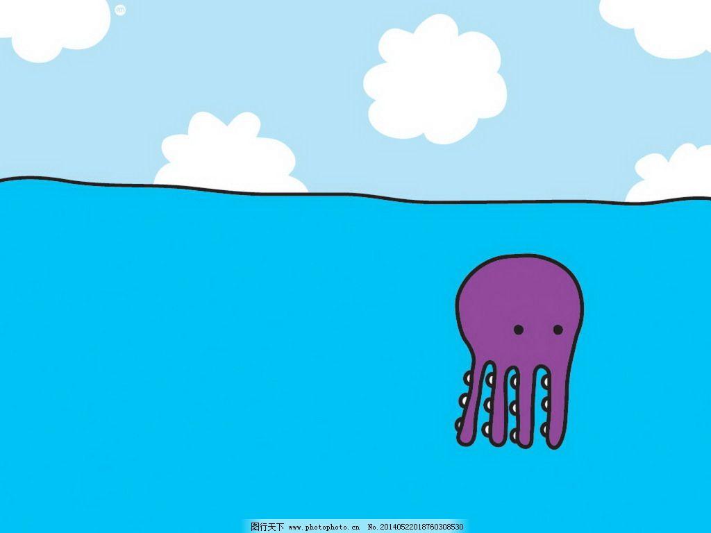 水母 红色 水母 海 卡通