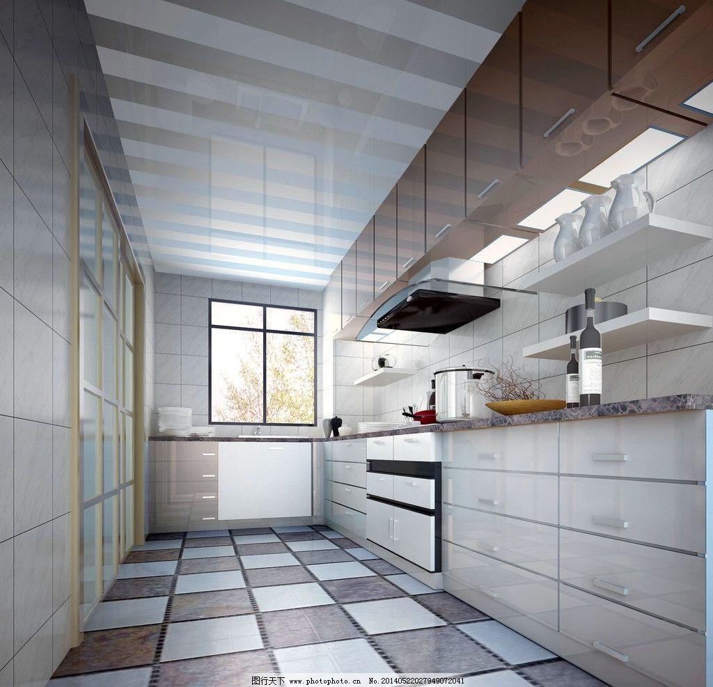 厨房效果图 家居      3d效果图 时尚 简约 整体 橱柜 室内设计 环境